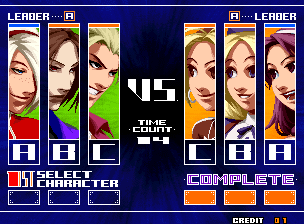 KOF 2003 Team Order Screen